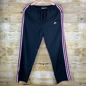 Adidas Athletic Pants Mesh Lined Pink Black Small